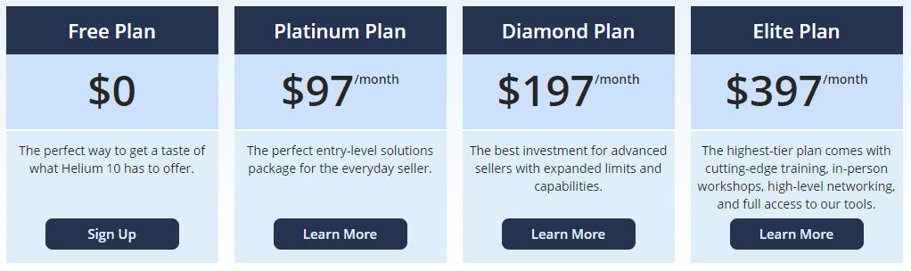 Helium 10 Pricing